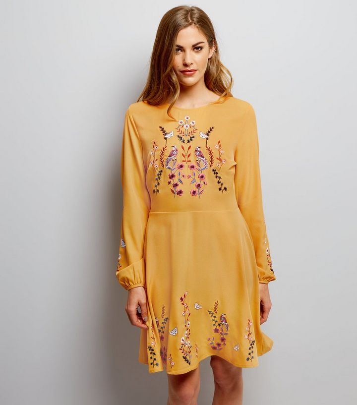 Newlook yellow bird dress