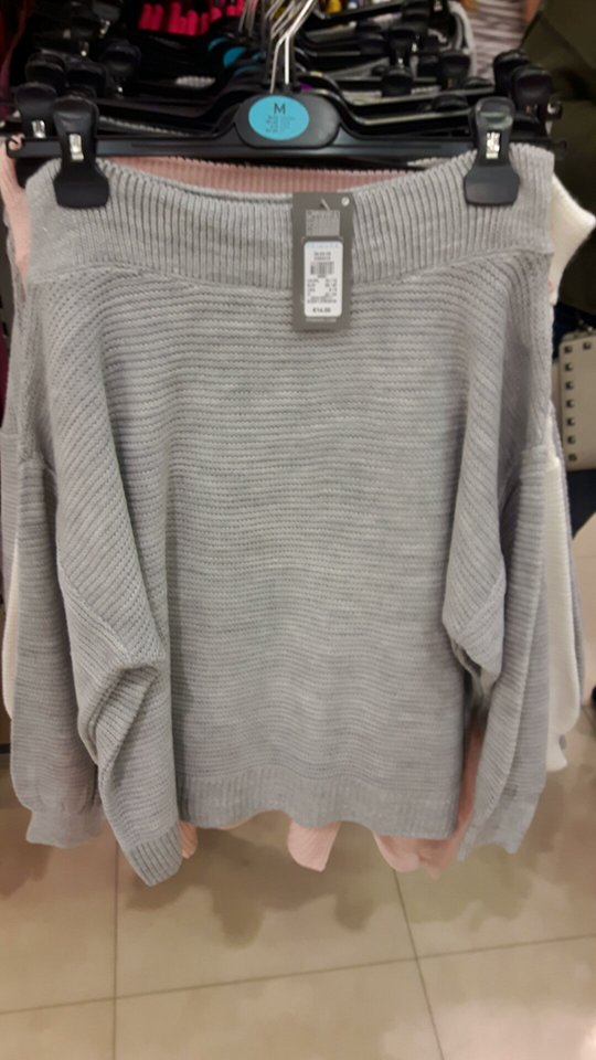 25th off shoulder grey jumper