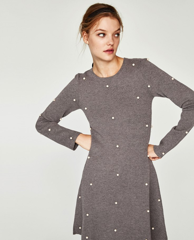 zara pearl skater dress