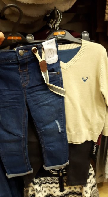 dunnes boy suspenders jeans and jumper