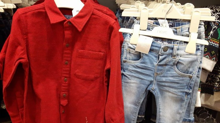 next boys red shirt and jeans