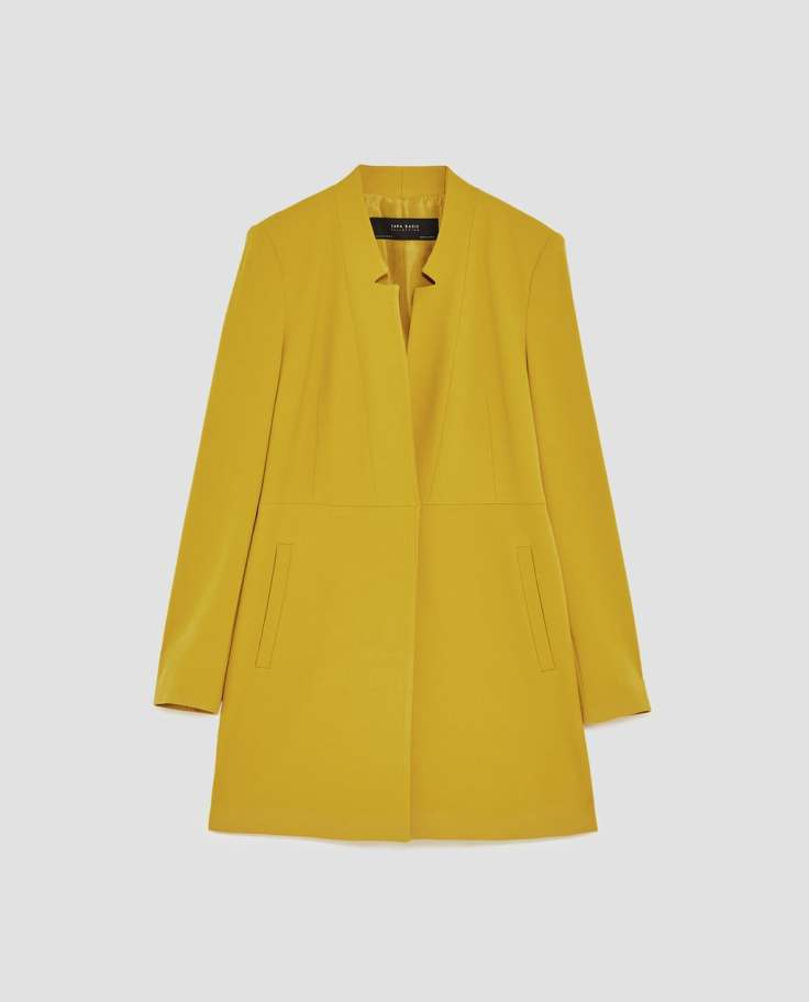 zara coat mustard