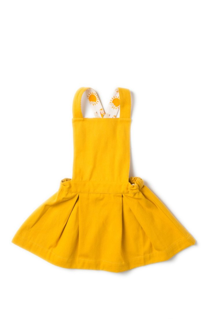 gold pinafore dress