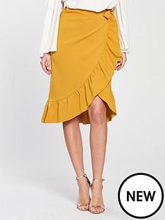 mustard frill skirt