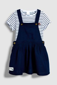 navy striped pinafore.